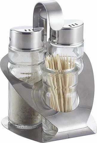 Stainless Stand Salt,Pepper & Toothpick Holder Sets KH-312